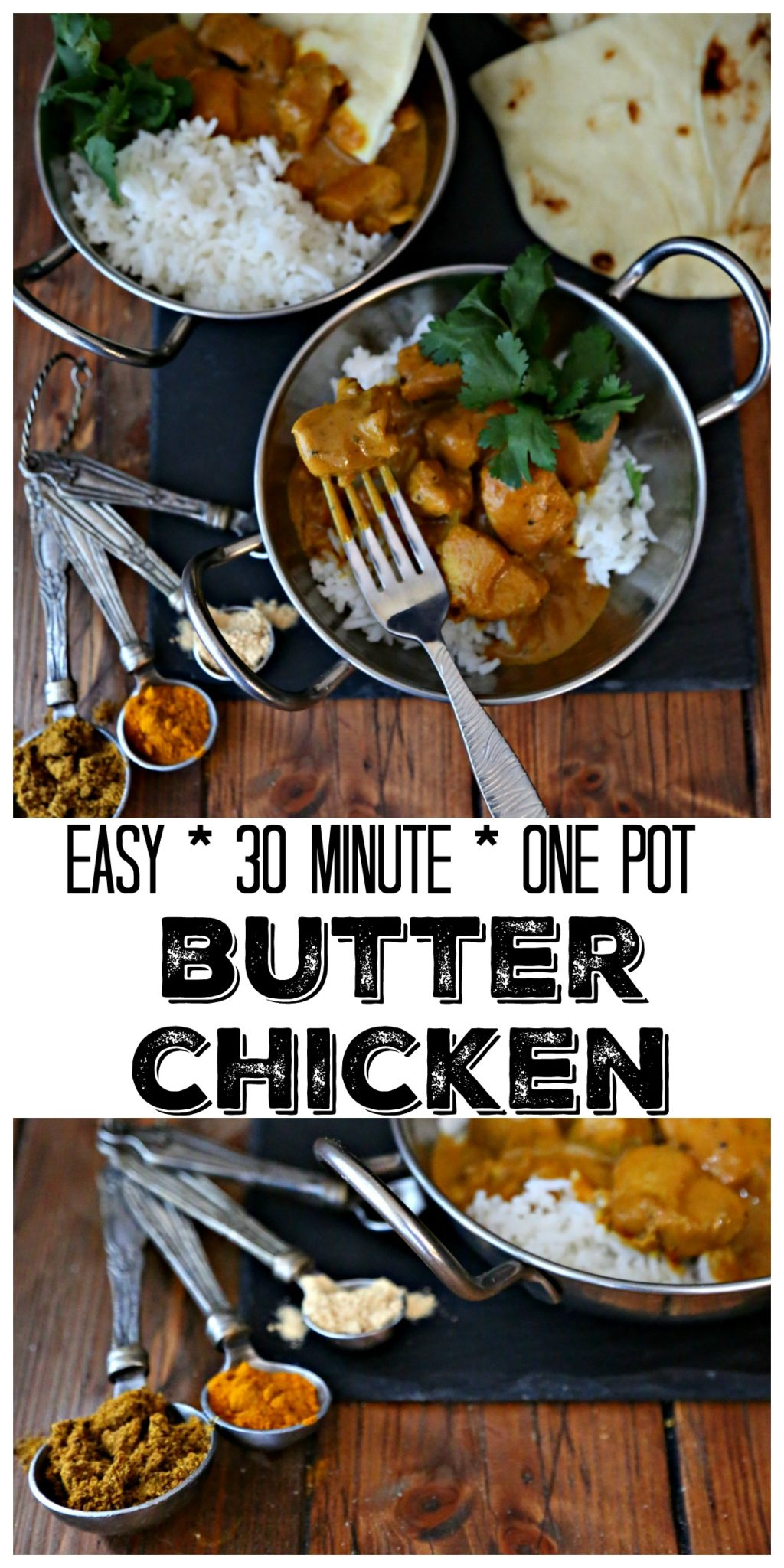 If you're craving Indian food try this easy one pot Butter Chicken recipe. Ready in just 30 minutes!  #Indian #Chicken #ButterChicken #ChickenRecipes #glutenfree