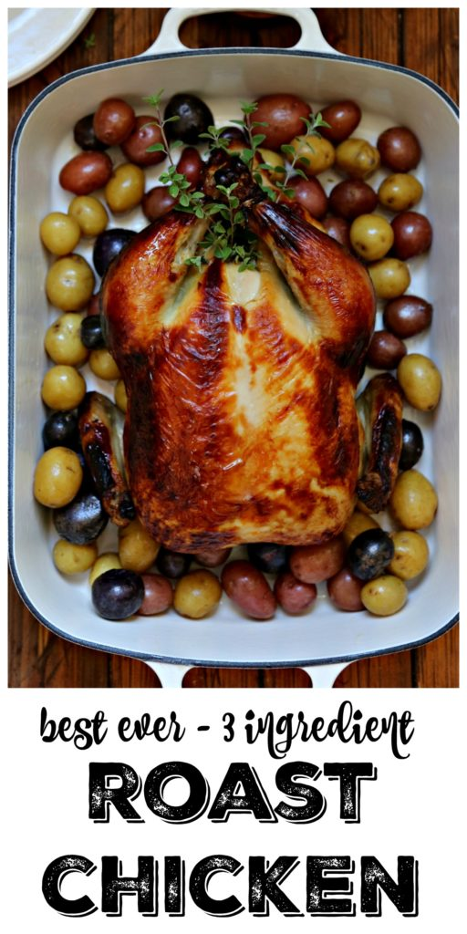 Buttermilk Brined Roast Chicken in roasting pan with new potatoes