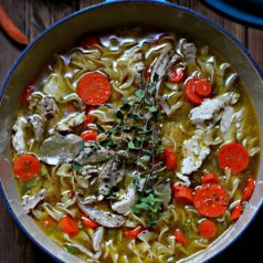 Quick and Easy Homemade Chicken Noodle Soup in blue pot