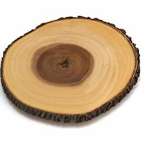 Lipper International 1030 Acacia Tree Bark Footed Server for Cheese, Crackers, and Hors D'oeuvres, Large