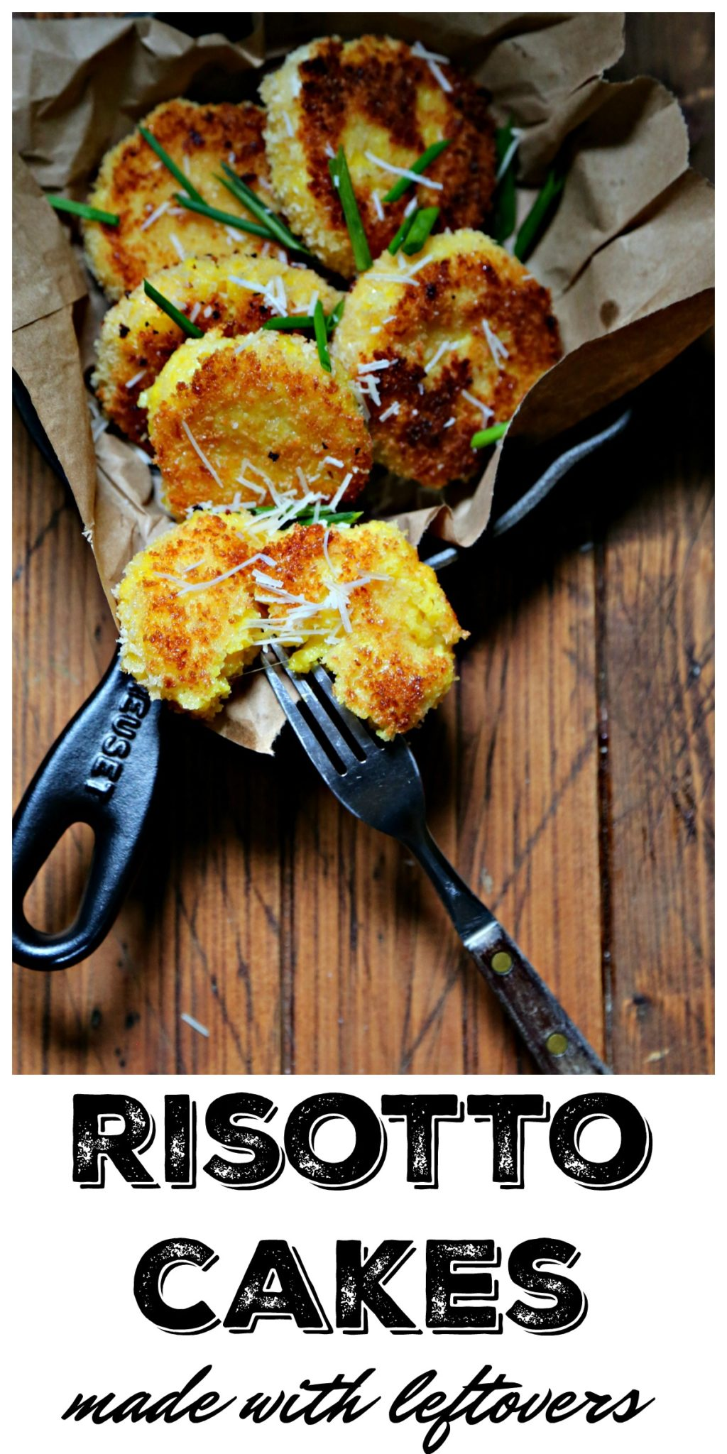 Use leftover risotto to make these incredibly easy and delicious Risotto Cakes. Perfect for snacking or as an appetizer #rice #risotto #risottocakes #leftovers #vegetarian