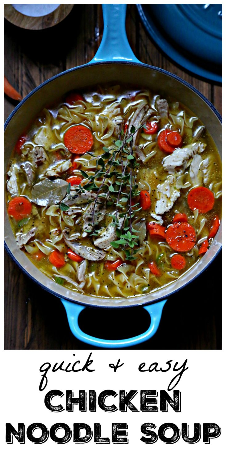 Quick and Easy Homemade Chicken Noodle Soup is on the table in less than 30 minutes. #soup #soups #chickennoodle #chicken #chickennoodlesoup