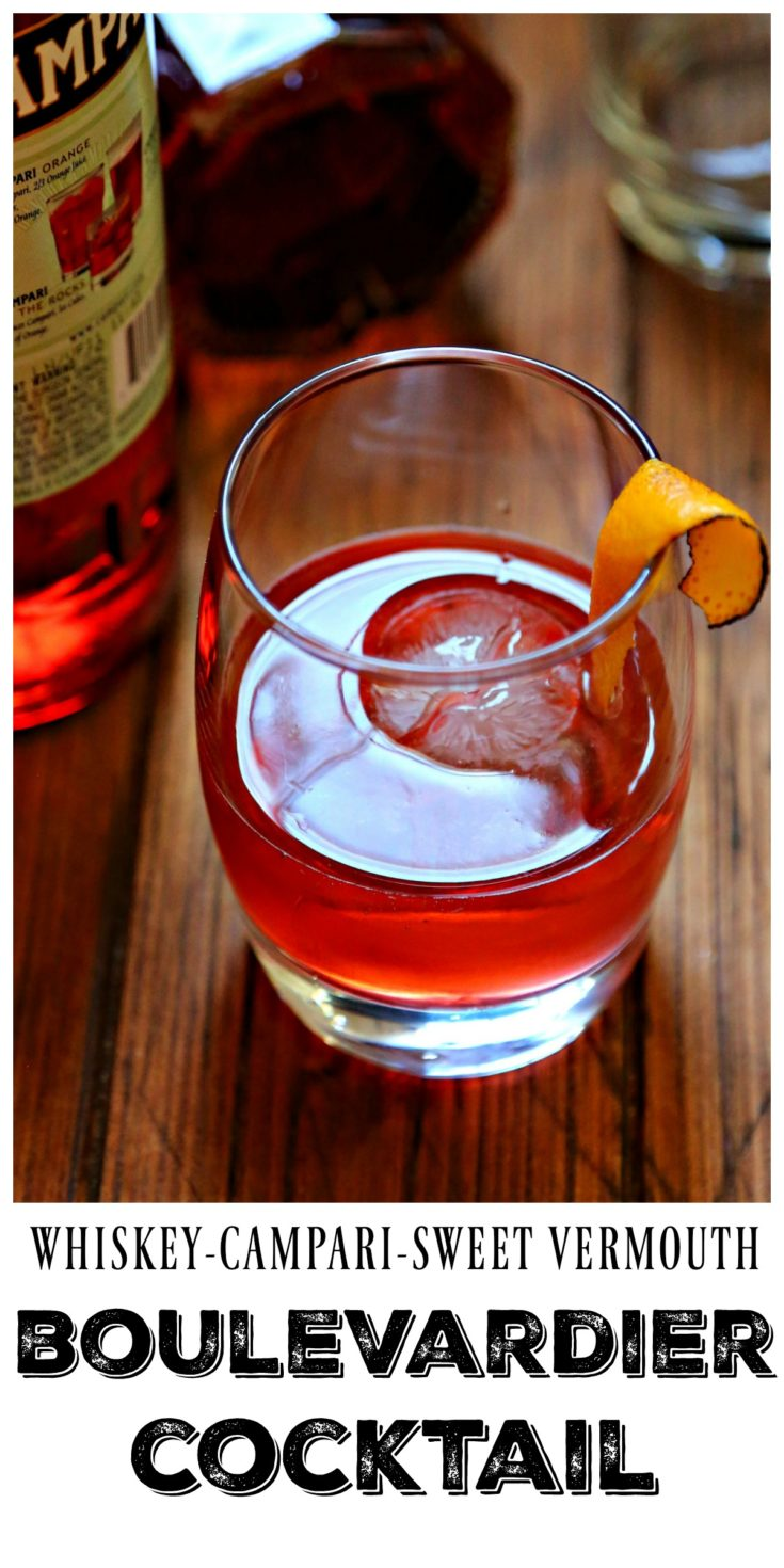 Boulevardier Cocktail. A prohibition era cocktail that's made with 3 ingredients Whiskey, Camparti and Sweet Vermouth. #cocktail #boulevardier #drinks