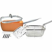 8 PCS Set Non Stick Copper Coated Ceramic Induction compatible 9.5 Inches Deep Square Pan & Frying Pan, Includes Fry Basket, Steamer Rack (Copper)