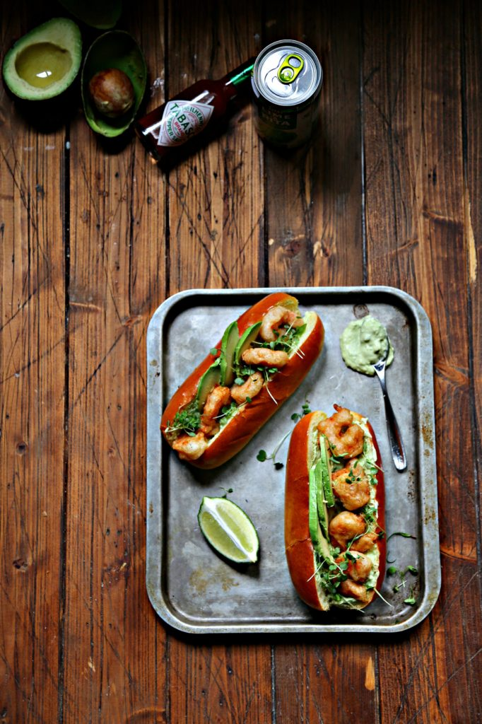 Spicy Shrimp Po Boy with Avocado Crema