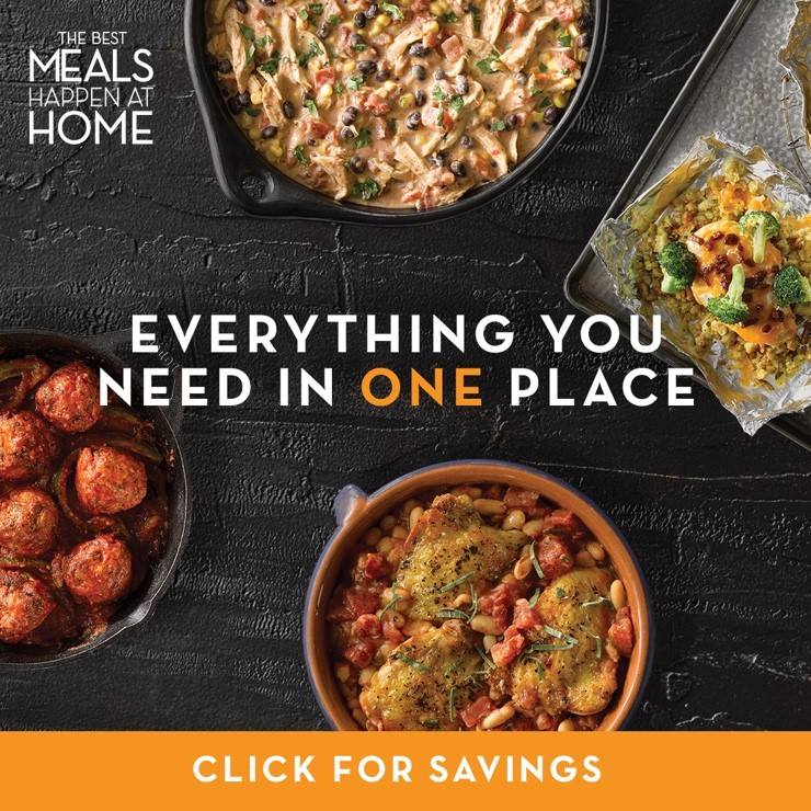 Best Meals at Home from Publix image of 4 separate bowls of food with text overlay that reads The Best Meals Happen at Home Everything You Need in One Place Click for Savings.
