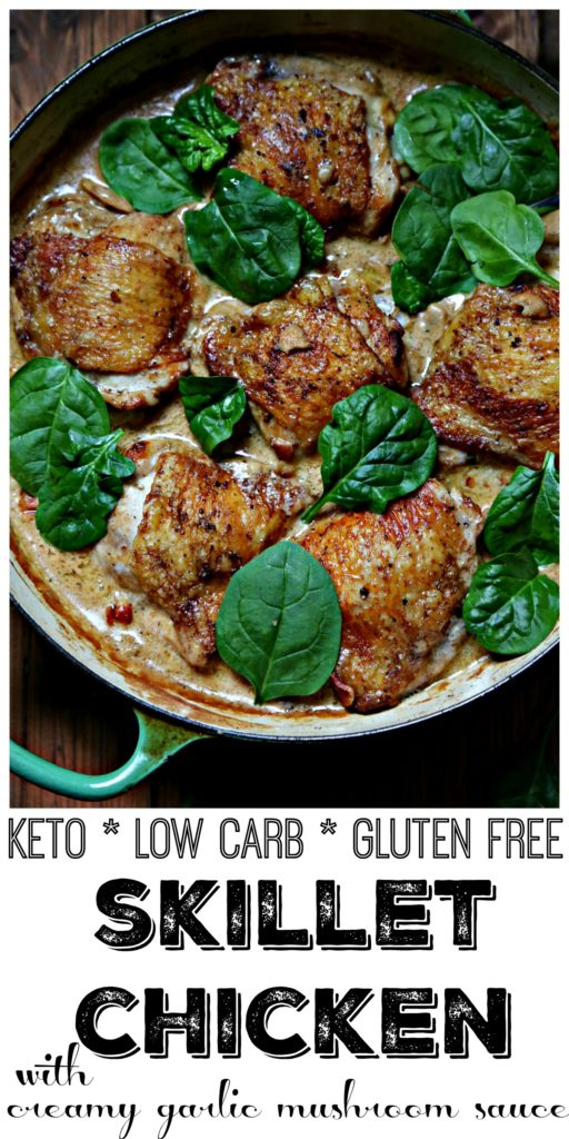 Chicken Thighs with Creamy Garlic Mushroom Sauce in green skillet with spinach