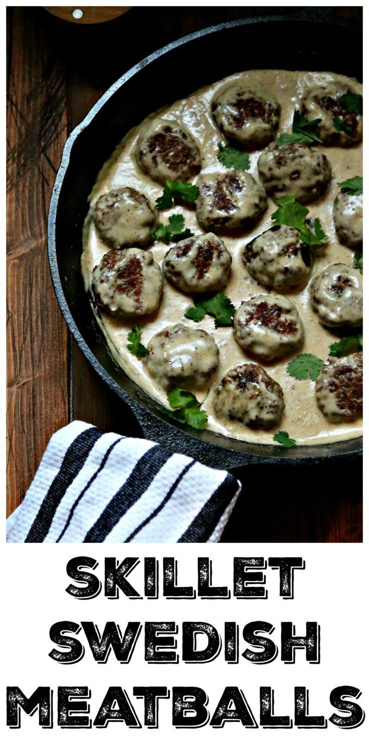 Easy Skillet Swedish Meatballs are a cozy and comforting meal. #meatballs #beef #pork #swedishmeatballs #easyrecipe #skillet
