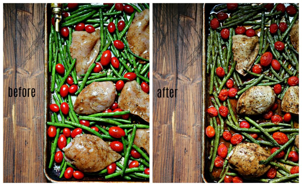 before and after photos of chicken, green beans and tomatoes on sheet pan.