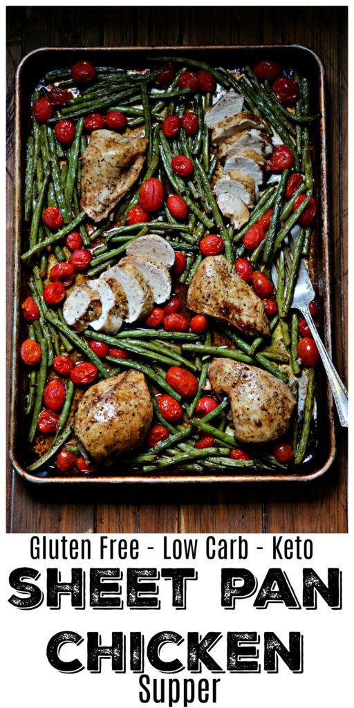 Roasted Chicken, Green Beans and Tomatoes on a sheet pan with serving fork