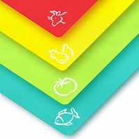 Plastic Cutting Mat Set - Quality Thin Cutting Boards 4 Colors - Non-Toxic, Flexible & Perfect for Chopping Vegetables, Beef, Fish, Chicken - Food Icons - Extra Large by Zulay Kitchen
