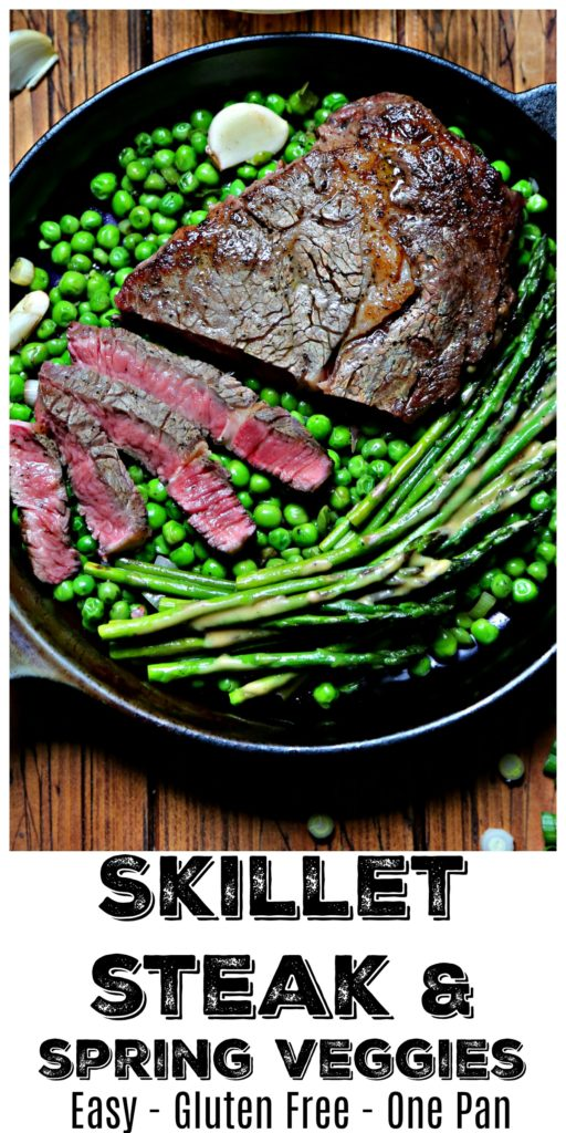 cast iron skillet with steak, spring peas and asparagus.