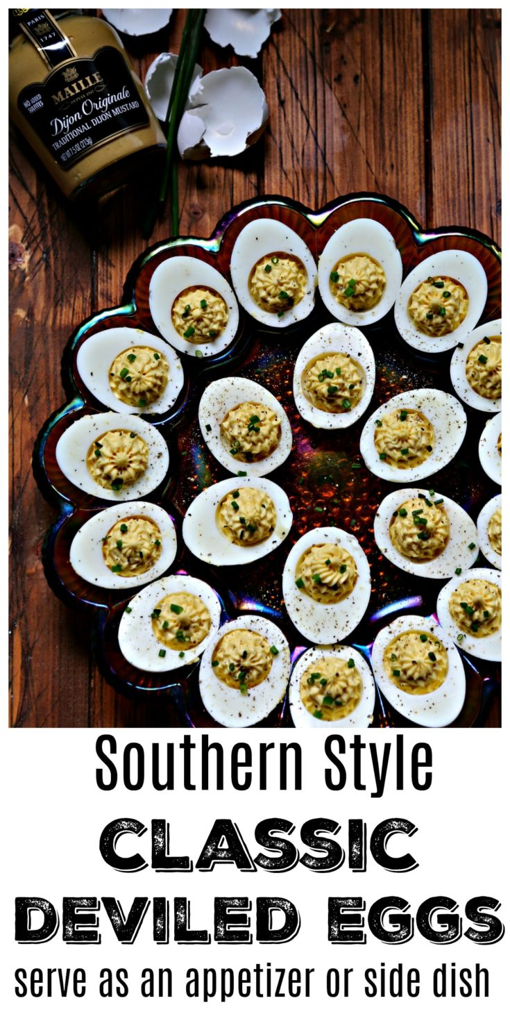 These classic Southern style deviled eggs are the perfect appetizer or side dish to serve for your next holiday dinner. Quick and easy, they're always a favorite at family gatherings. Made in partnership with Mirum to promote Maille® mustard. #recipes #easter #deviledeggs #eggs #vegetarian #vegetarianrecipes  #lowcarb #lowcarbrecipes #keto #ketorecipes #holiday #holidayrecipes #appetizers #sidedish  #OhMaille #MyMaille #IDidItMailleWay #Walmart
