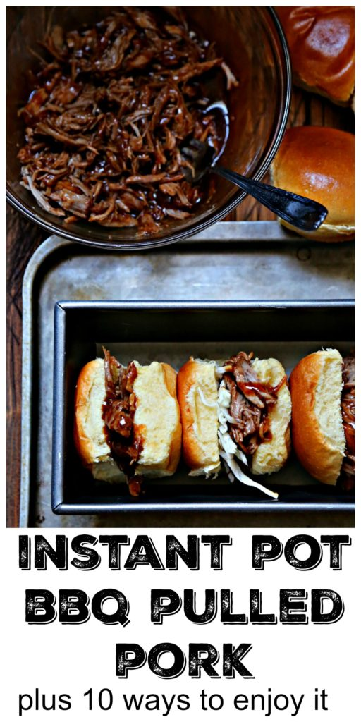 3 bbq pork sliders in loaf pan. Bowl of bbq with spoon behind.