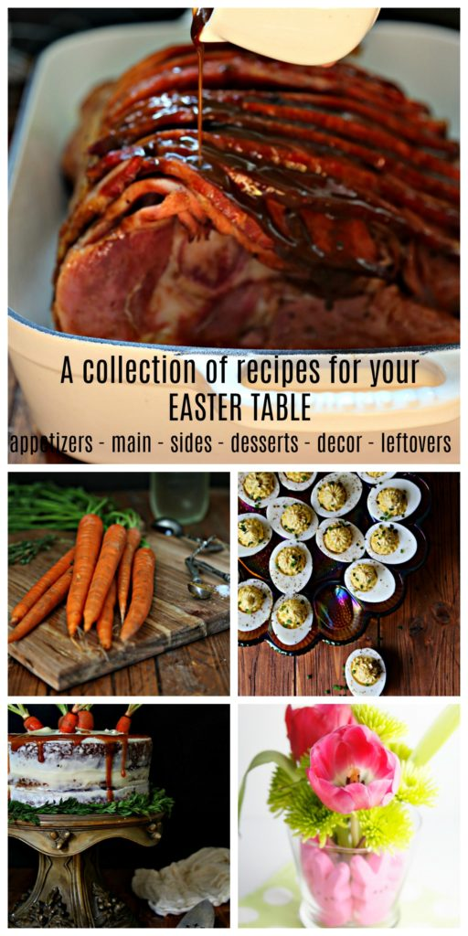 a collage of sliced spiral ham, carrots, deviled eggs, carrot cake and tulips.