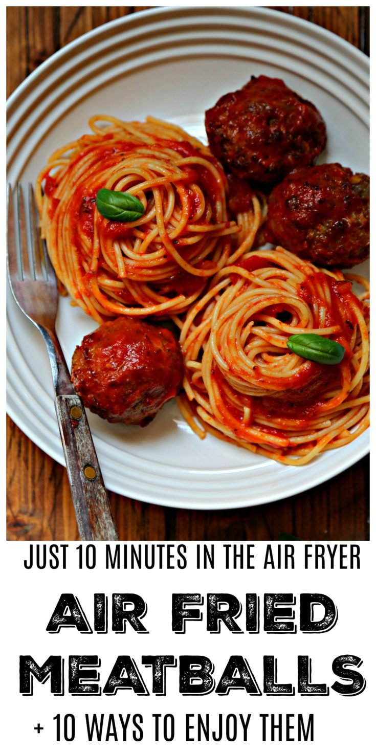 Air Fried Meatballs take just 10 minutes to cook in an air fryer. PLUS we're sharing 10 ways to use them in meals. #recipes  #airfryer #meatballs  #dinner #dinnerrecipes #dinnerideas  #easyrecipe  #pork  #appetizers