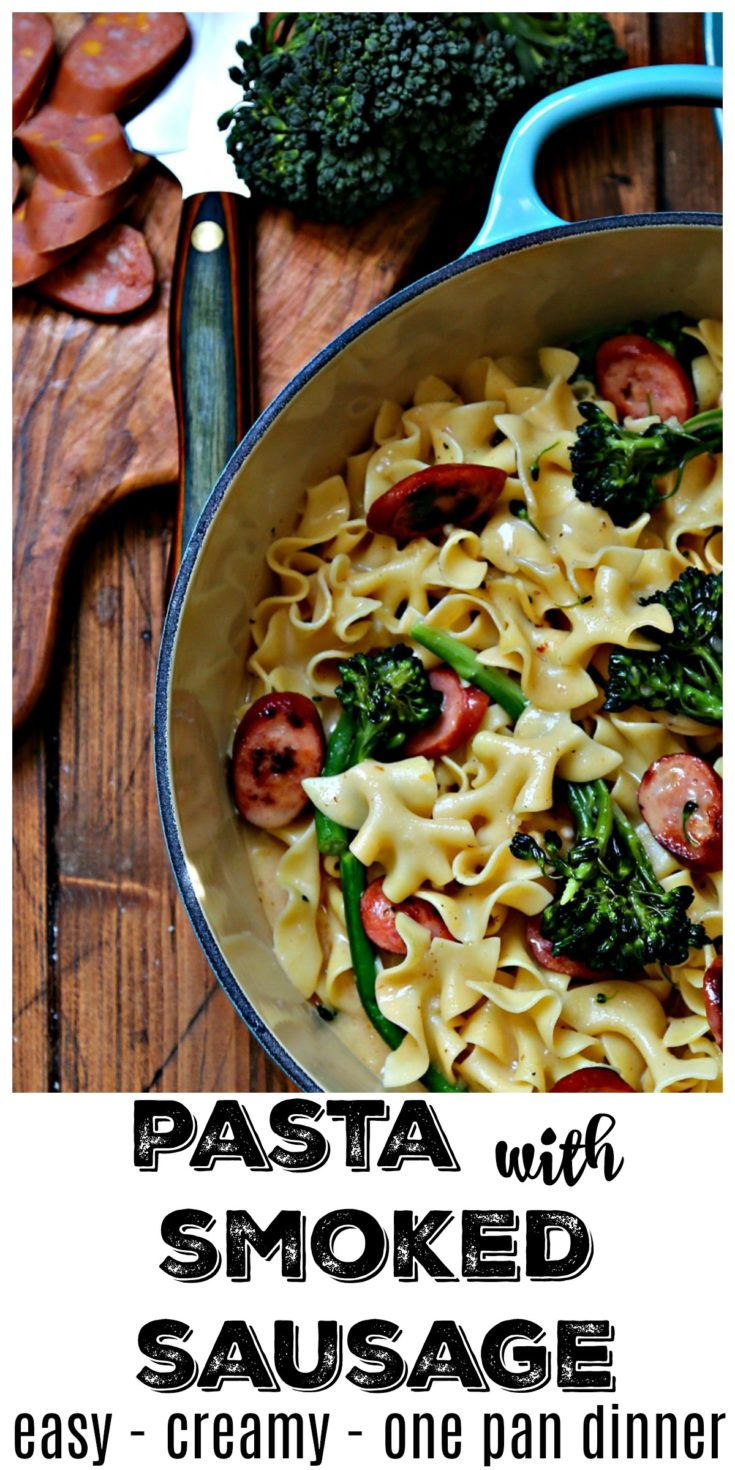 One Pan Creamy Smoked Sausage Pasta is ready in about 15 minutes and is cooked in ONE Pan #dinner #dinnerrecipes #pork #easyrecipe