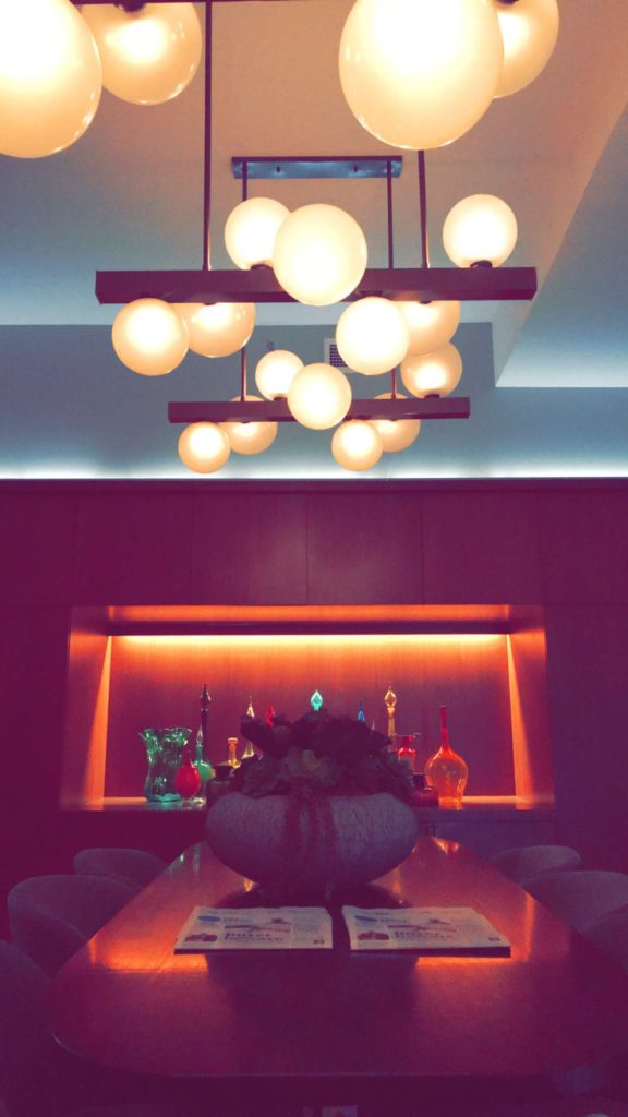 photo of hotel lobby lights