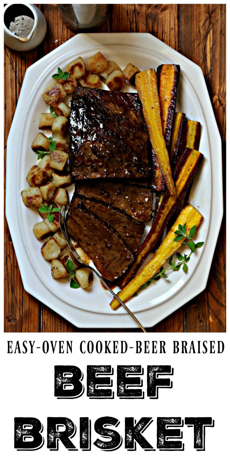 Beer Braised Beef Brisket is made in the oven and is an easy dinner recipe that the whole family will enjoy..  #beef #dinner #dinnerrecipes #easyrecipe #ThinkEasyDinners #BestMealsHappenAtHome #Publix Sponsored
