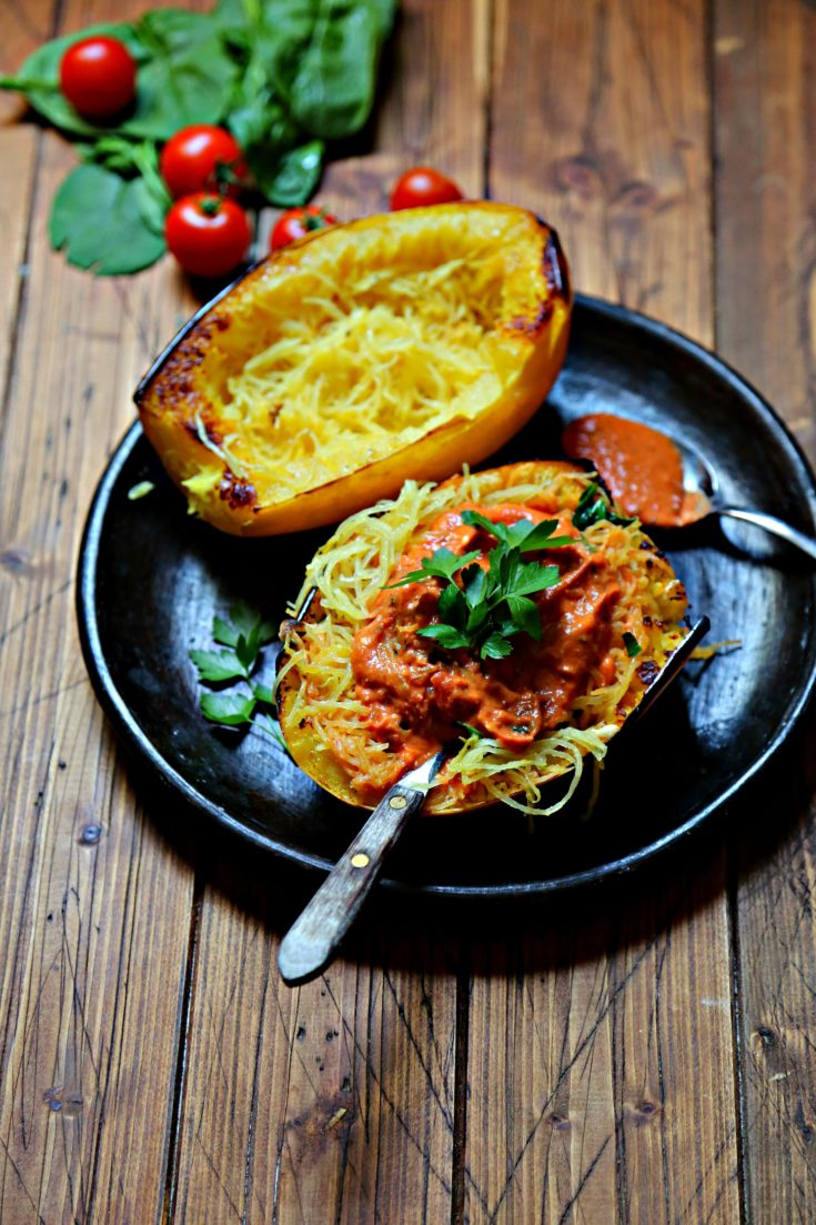 Spaghetti Squash with Spinach Tomatoes & Goat Cheese