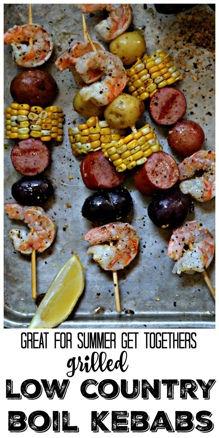 Low country boil kebabs are great for summer get togethers and holidays #easyrecipe #seafood #shrimp