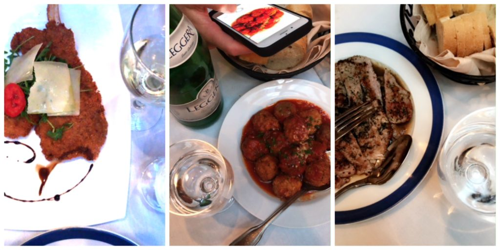 collage of 3 photos with veal dishes at restaurant.