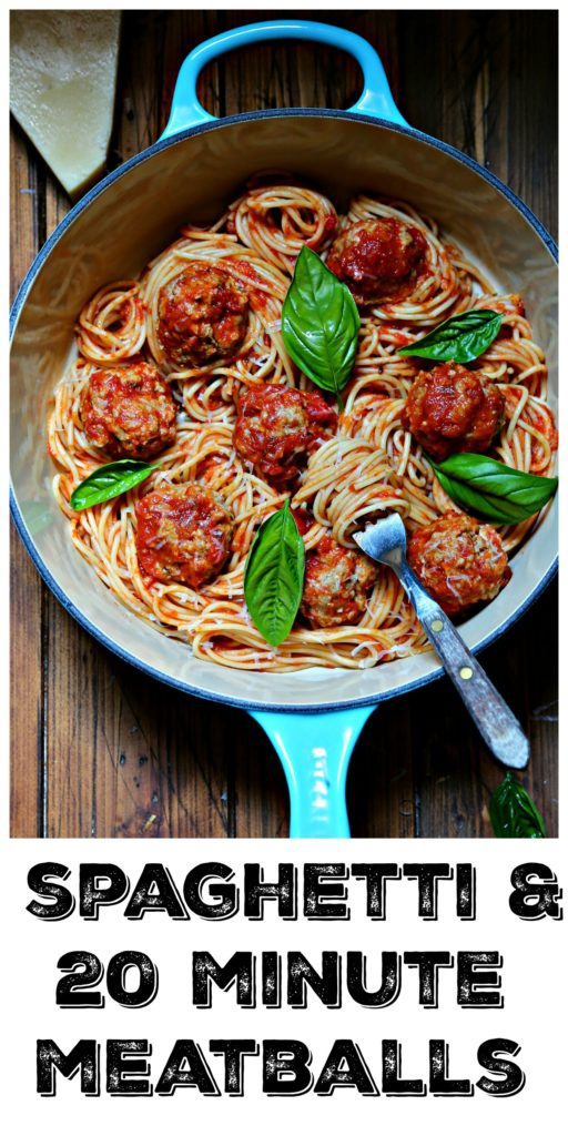 Spaghetti and Meatballs with basil in blue pot.