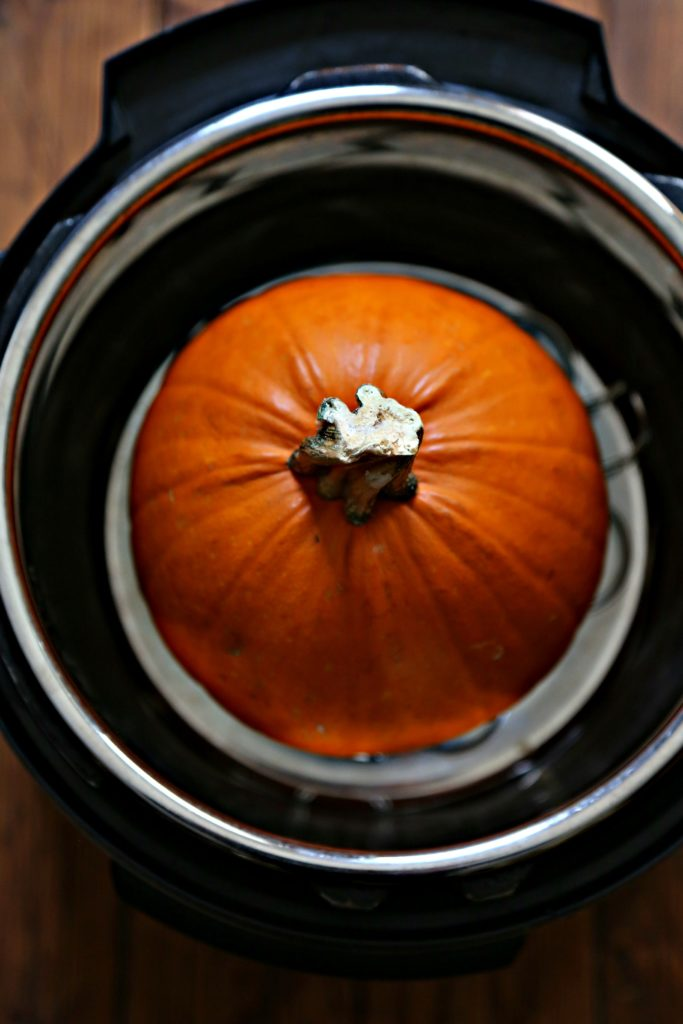 Sugar pumpkin inside Instant Pot.