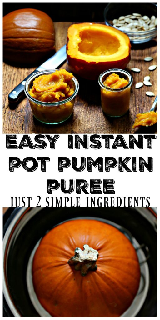 Pumpkin puree in glass jars on cuttinb board. Pumpkin in Instant Pot below.