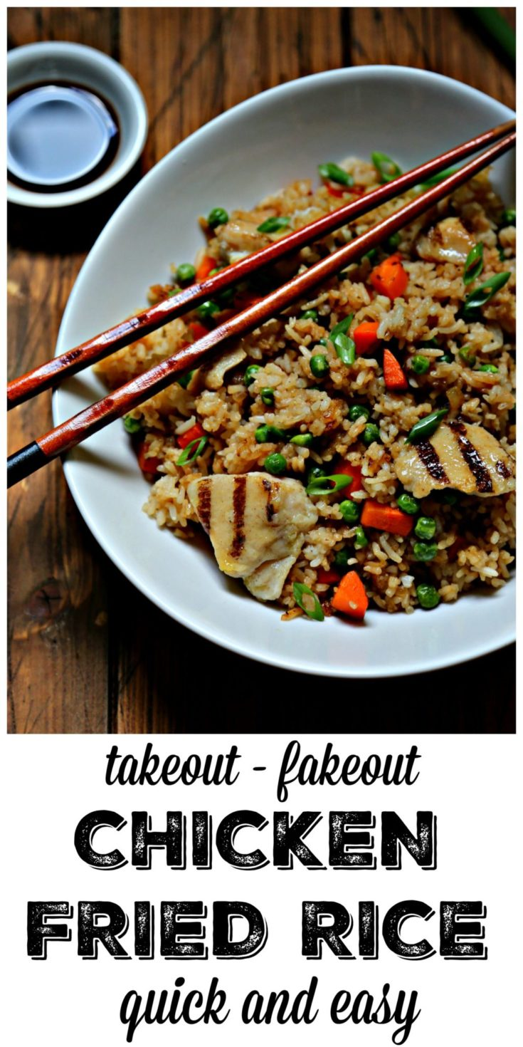Opinions are my own. Who needs take-out when you can quickly and easily make delicious chicken fried rice at home in about 15 minutes. #friedrice #chickenfriedrice #chicken #chickendinner #easyrecipes sponsored