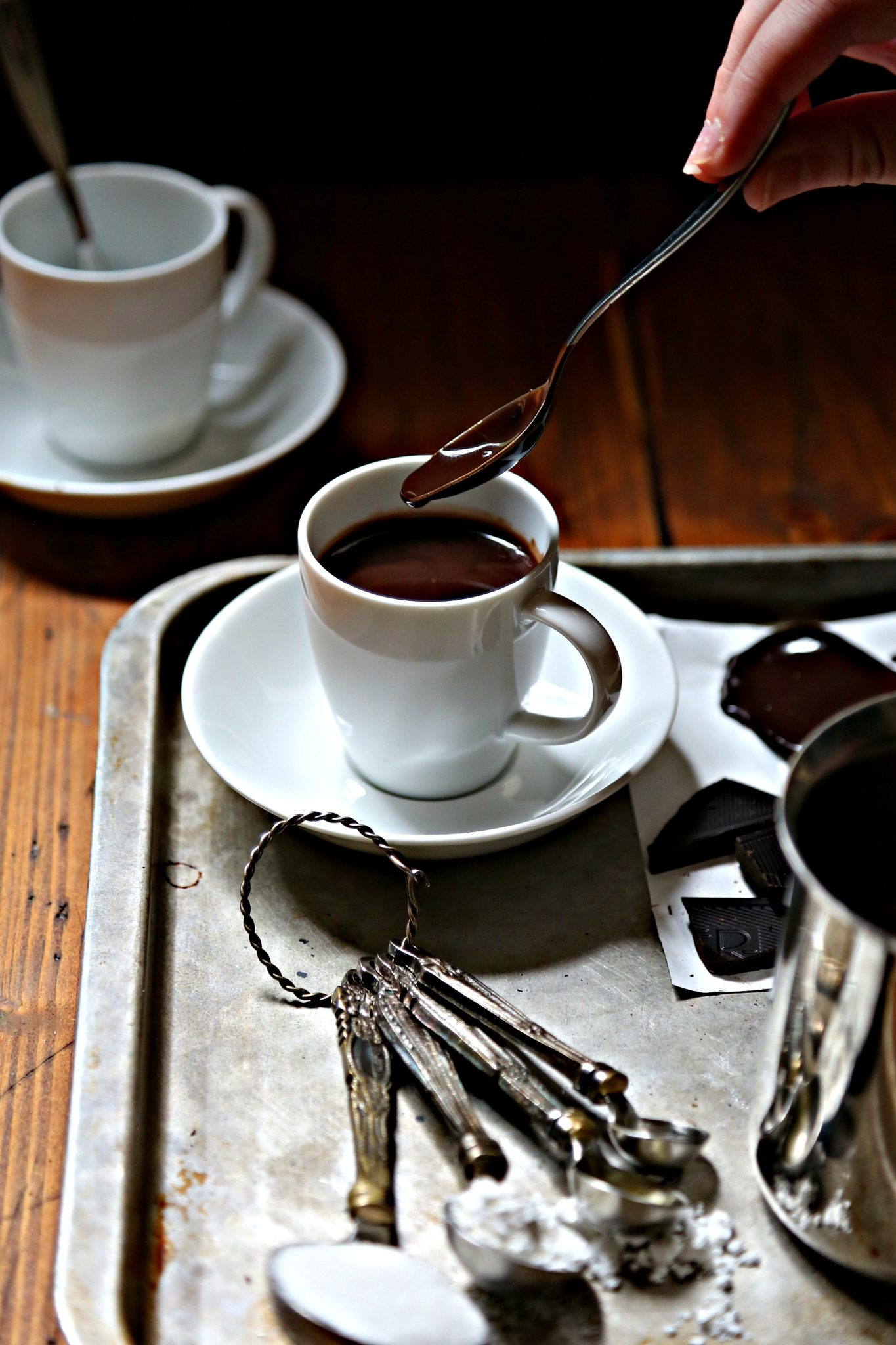 italian hot chocolate on silver tray with spoon via bell'alimento