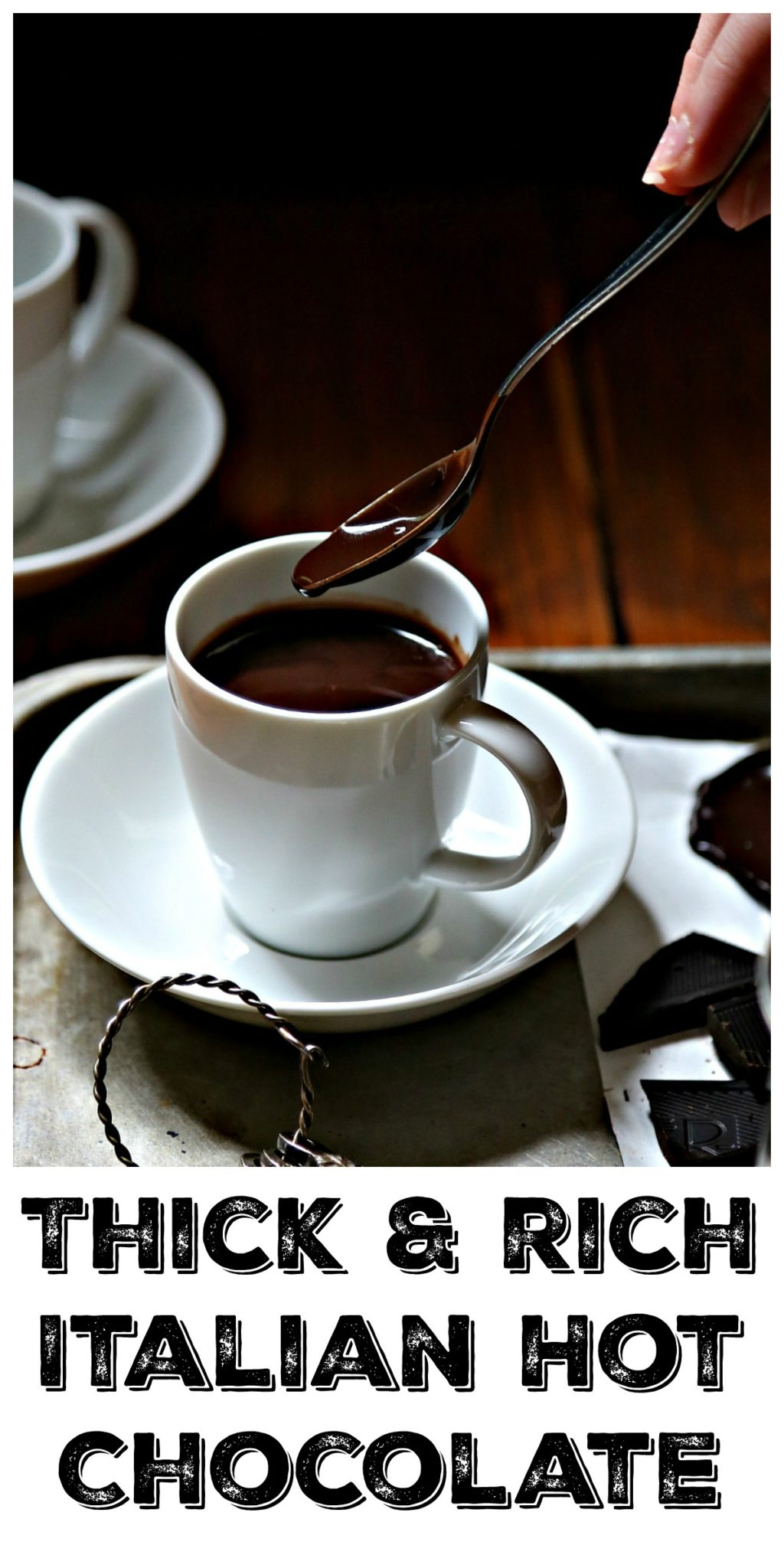 italian hot chocolate on silver tray with spoon Pinterest image via bell'alimento