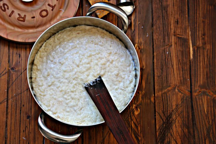 risotto a latte milk risotto brown background via bell'alimento