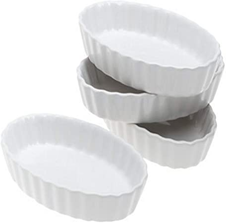 BonJour Chef's Tools Porcelain Creme Brûlee Ramekin Set, 4-Piece, White